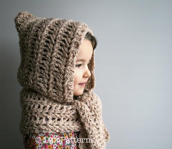 Crochet Pattern Instant Download Crochet Hat Pattern Hooded Scarf