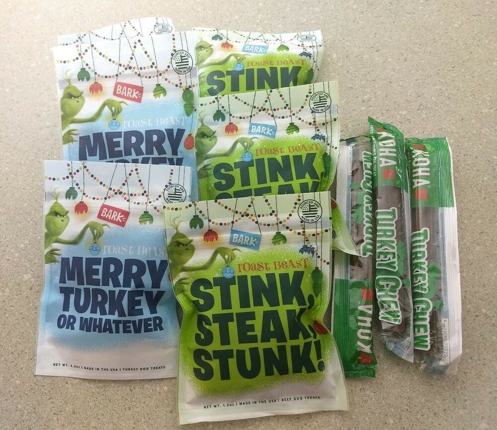 Bark Box Dog Treats Grinch Stink Steak Stunk Merry Turkey