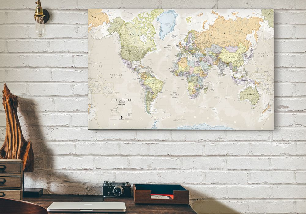 Httpmapsinternationalproductdetailsppid a popular classic world map with its artistic classic style muted tones map detail splendid wall map art of the world in vintage style gumiabroncs Image collections