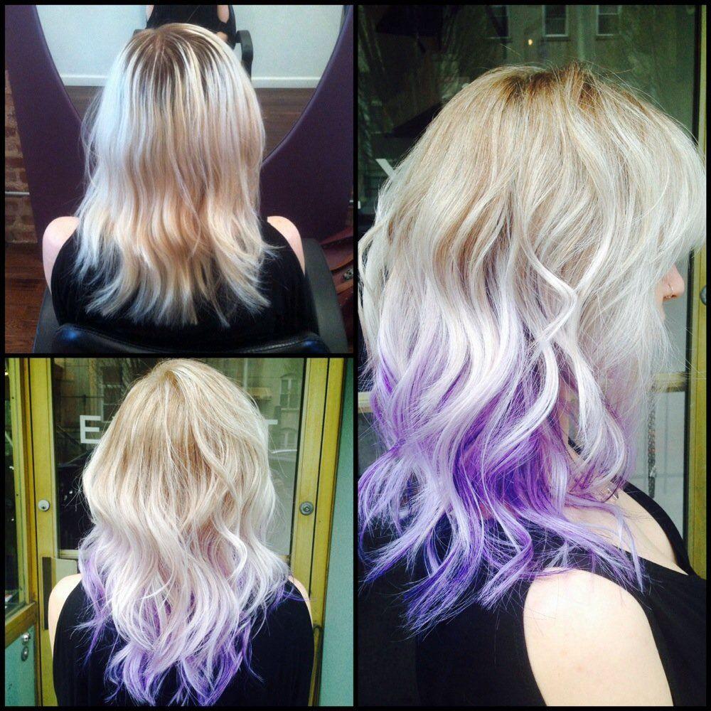 Blonde Hair Purple Dip Dye Dip Dye Hair Hair Color Purple