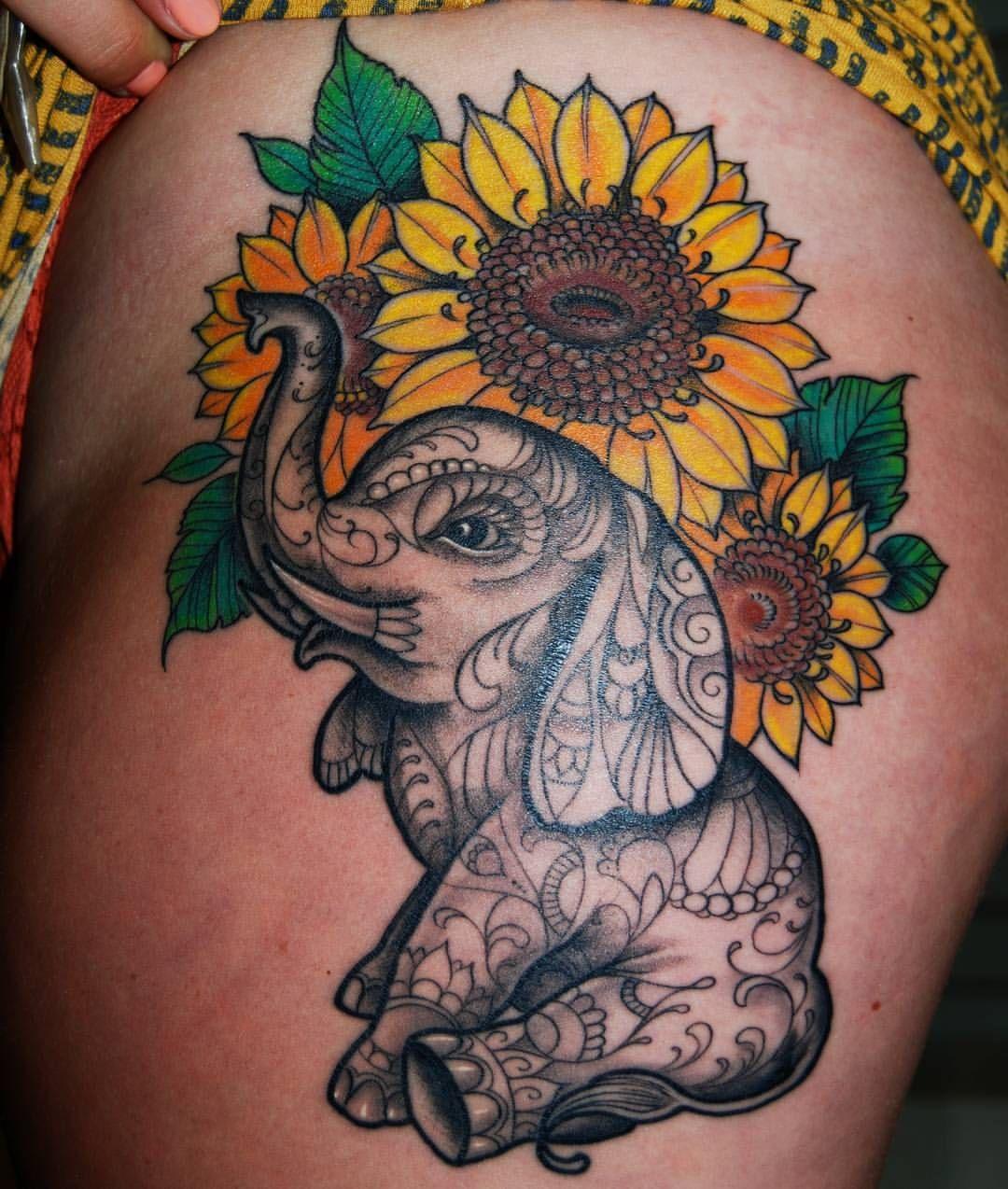 "Photo of P R I M A L    D É C O R on Instagram: ""Great thigh tattoo by @danieldoziertattooer Looks so awesome!  #primaldecor #makingbodiesbeautiful #elephanttattoo #sunflowertattoo…"""