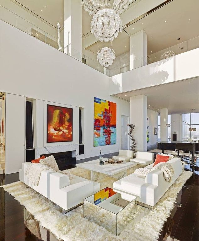 "Living Room With TrueModern Jackson 70"" Love Sofa, High"