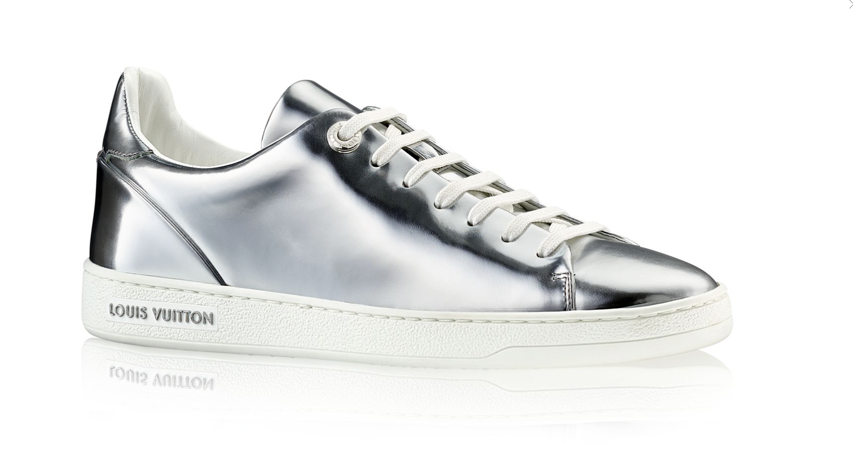 1b8bd6411dda Louis Vuitton Silver FRONTROW SNEAKER Reinterpreting the classic tennis shoe,  this on-trend sneaker in metallic calf leather has a clean-cut design ...