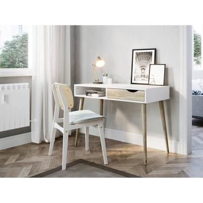 Finlandek Bureau Tutki Scandinave Blanc Mat Et Decor Chene Clair L 100 Cm Mobilier De Salon Amenagement Chambre Et Meuble Rangement