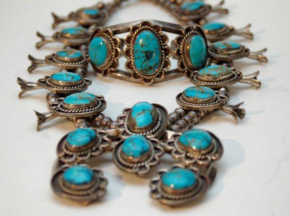 Huge magnificen vintage Navajo turquoise squash blossom sterling necklace 314 grams