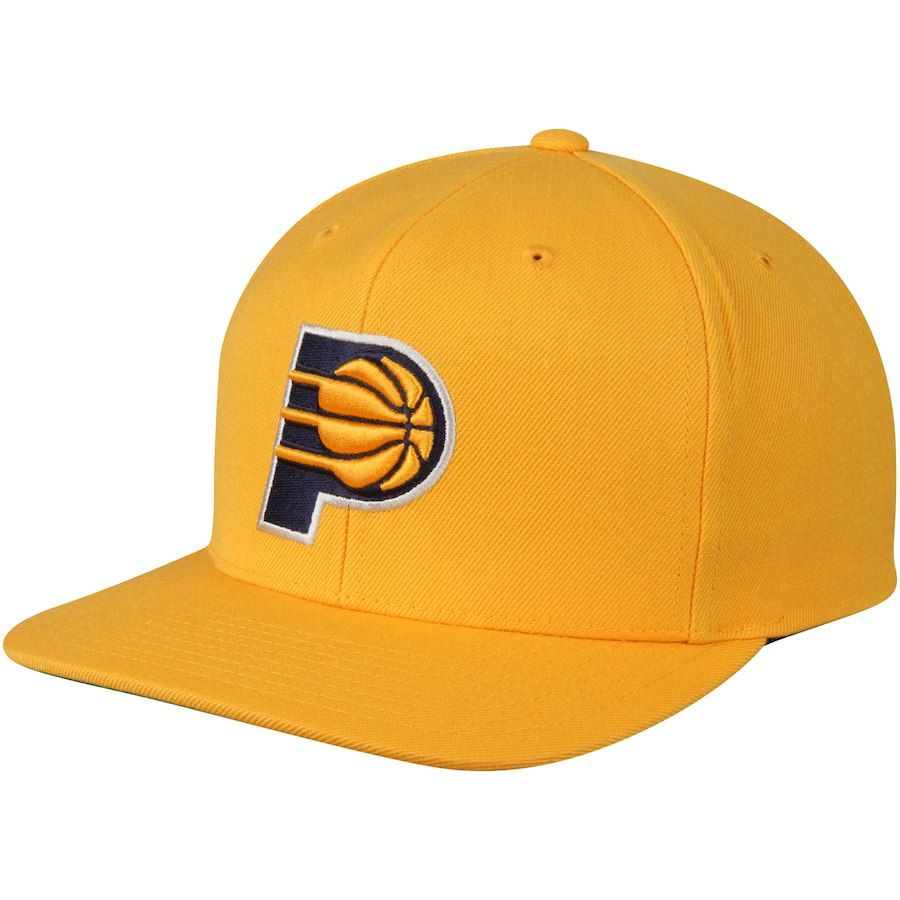 b6bedb78d8a Men s Indiana Pacers Mitchell   Ness Gold Team Logo Wool Solid Adjustable Snapback  Hat