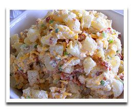 Fabulous baked potato salad with cheddar and bacon