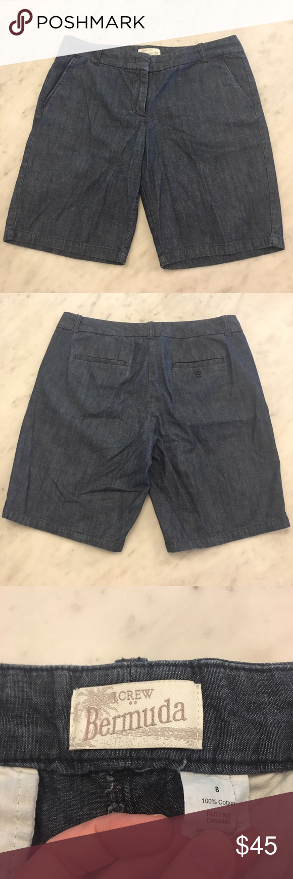 🌺SALE🌺J. Crew blue Bermuda shorts These are in good used condition. These are a size 8. Super cute Bermuda shorts, they go with everything. Get them just in time for warmer weather. These are blue in color to look like denim. J. Crew Shorts Bermudas