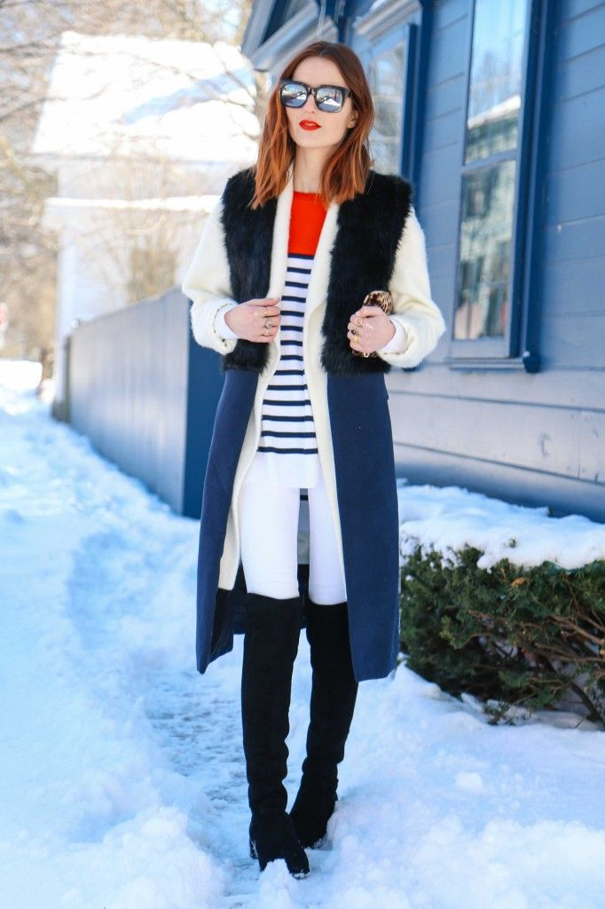 white jeans, black OTK boots, striped top plus some red