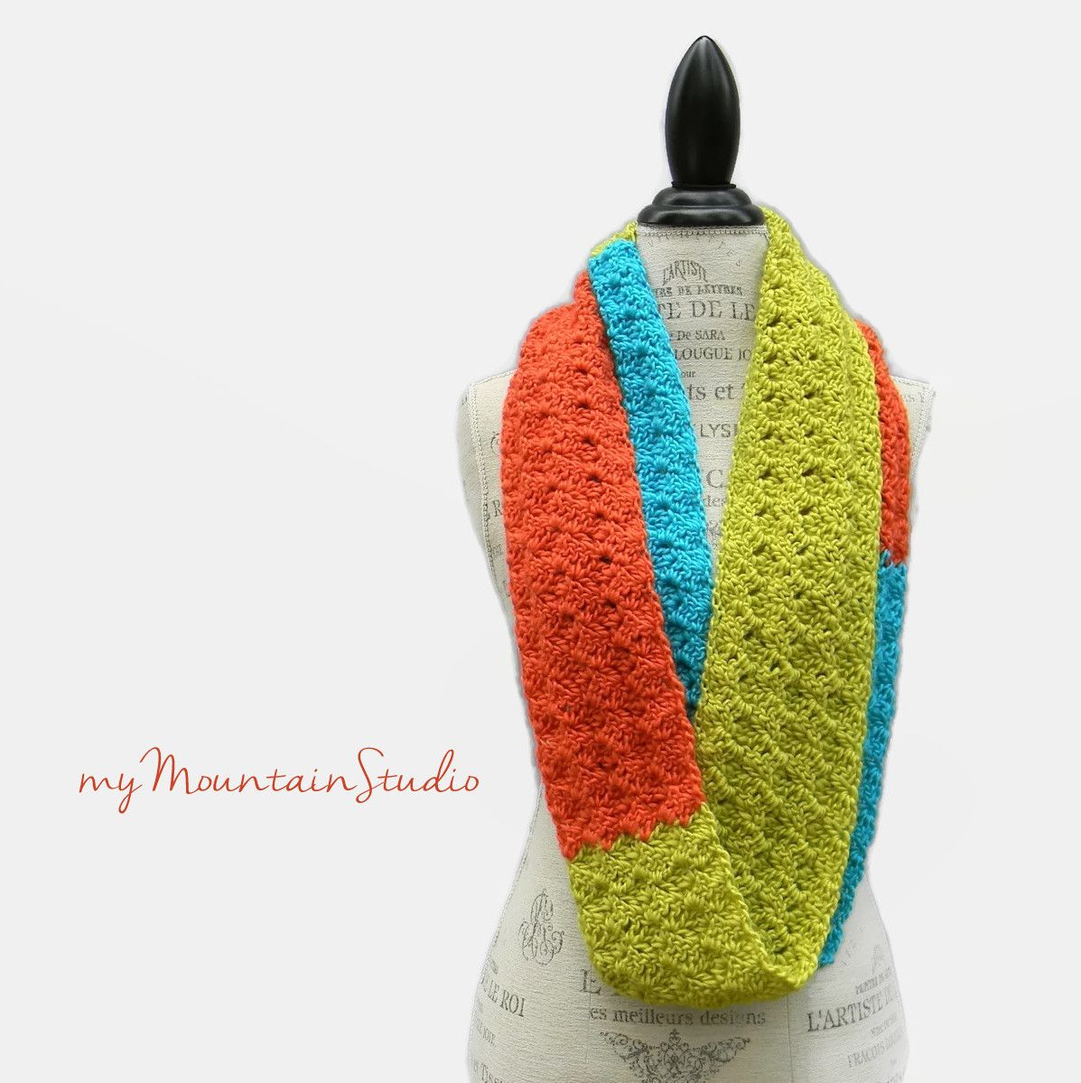 Colorblock - Women\'s Handmade Infinity Scarf Cowl in Lime Turquoise ...