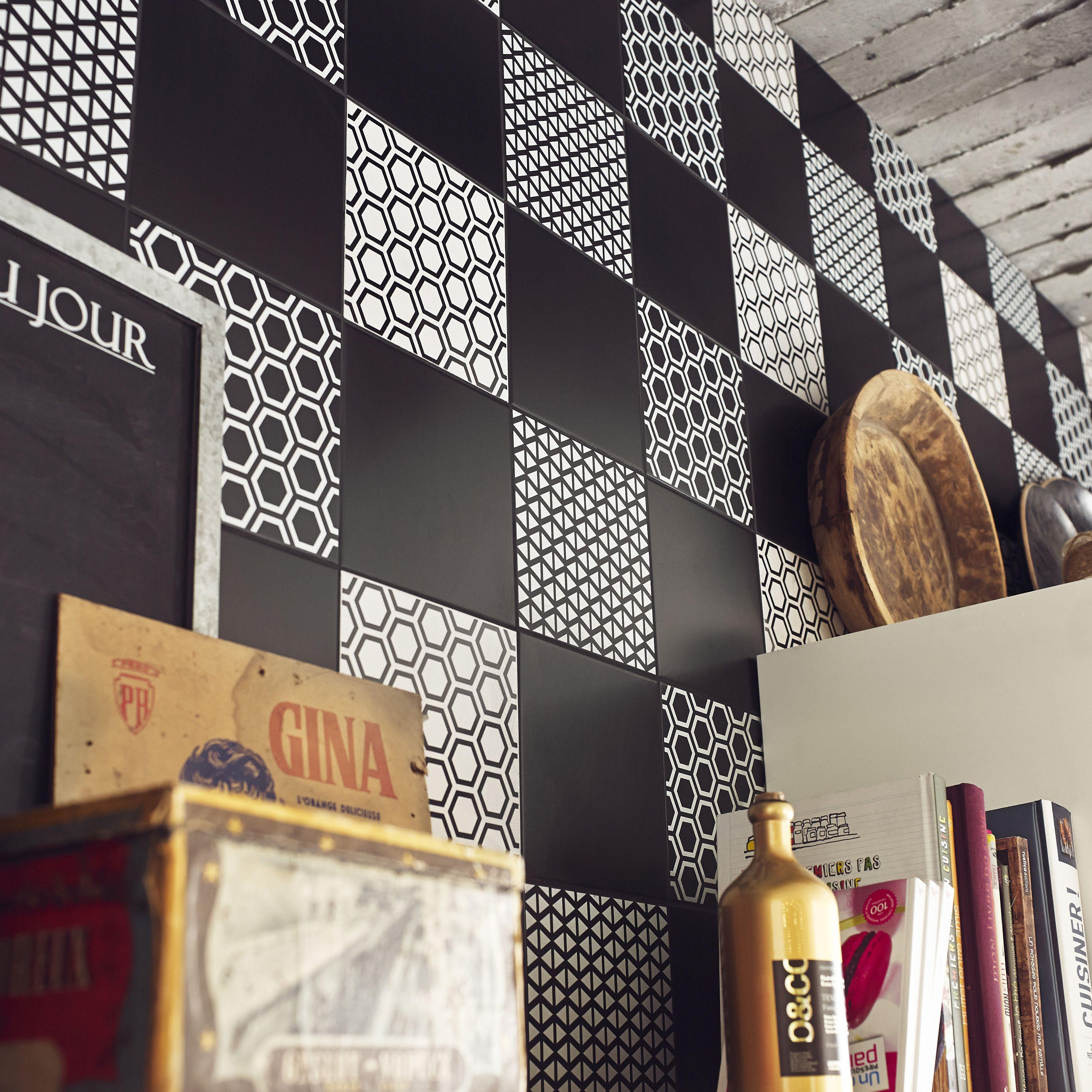 Carrelage Mur Forte Noir Noir N 0 Mat L 20 X L 20 Cm Astuce Mur