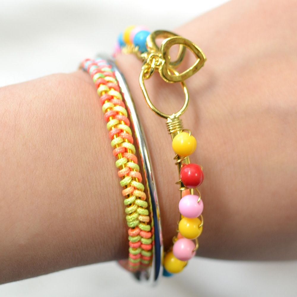 Simple rainbow colored bangle set bracelets pinterest bangle
