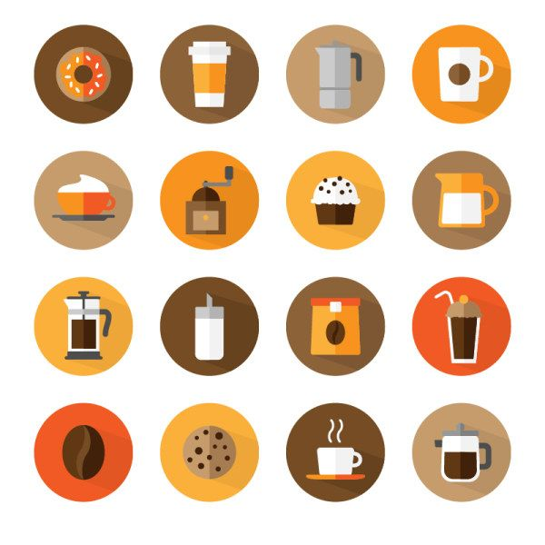 Flat Round Coffee Icons Material Coffee Icon Coffee Vector