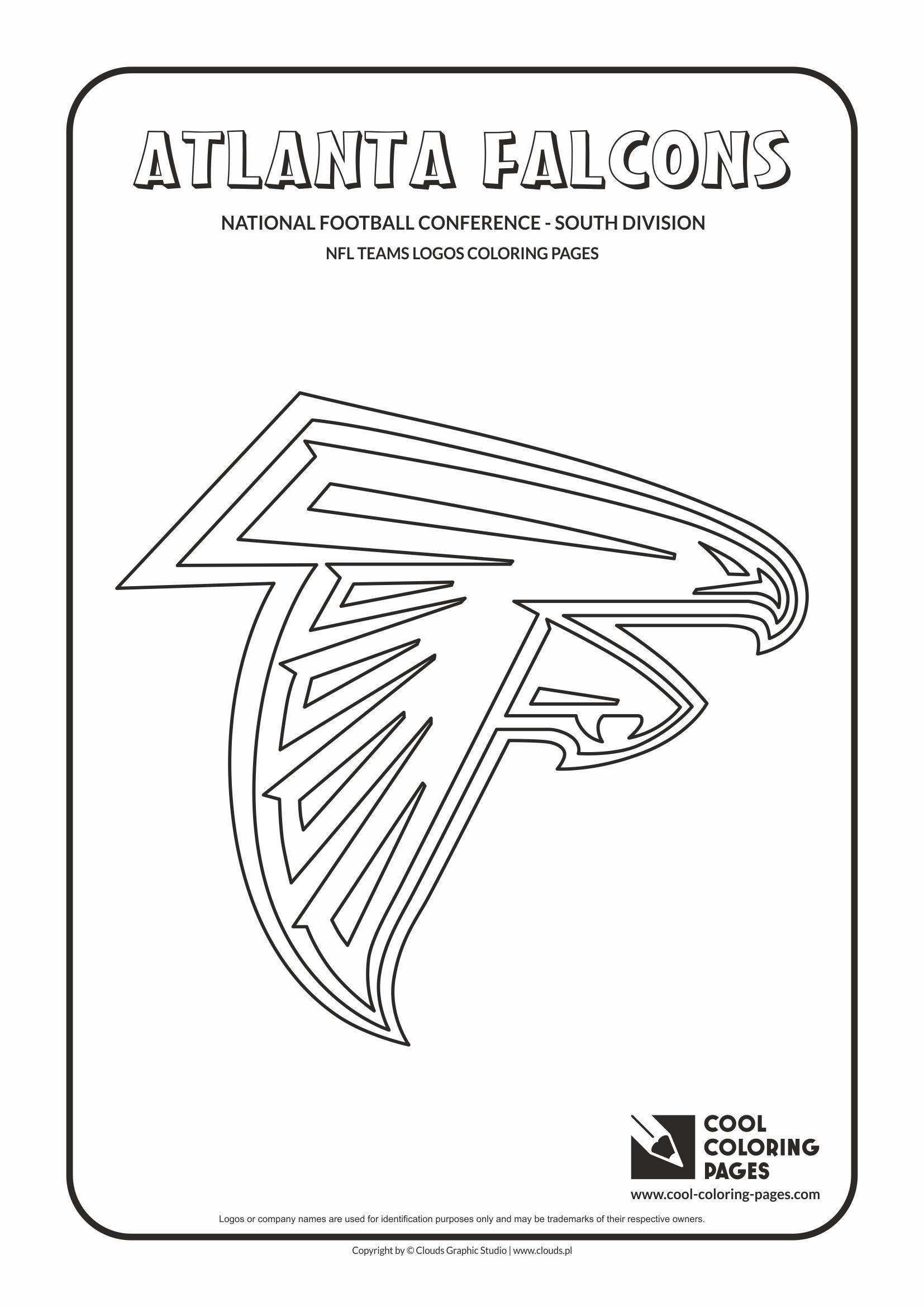 Cool Coloring Pages Nfl American Football Clubs Logos National Football Conference East Division Football Coloring Pages Atlanta Falcons Nfl Teams Logos