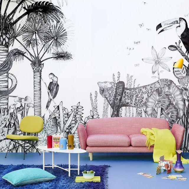 papier peint panoramique esprit jungle bien fait d co pinterest papier peint panoramique. Black Bedroom Furniture Sets. Home Design Ideas
