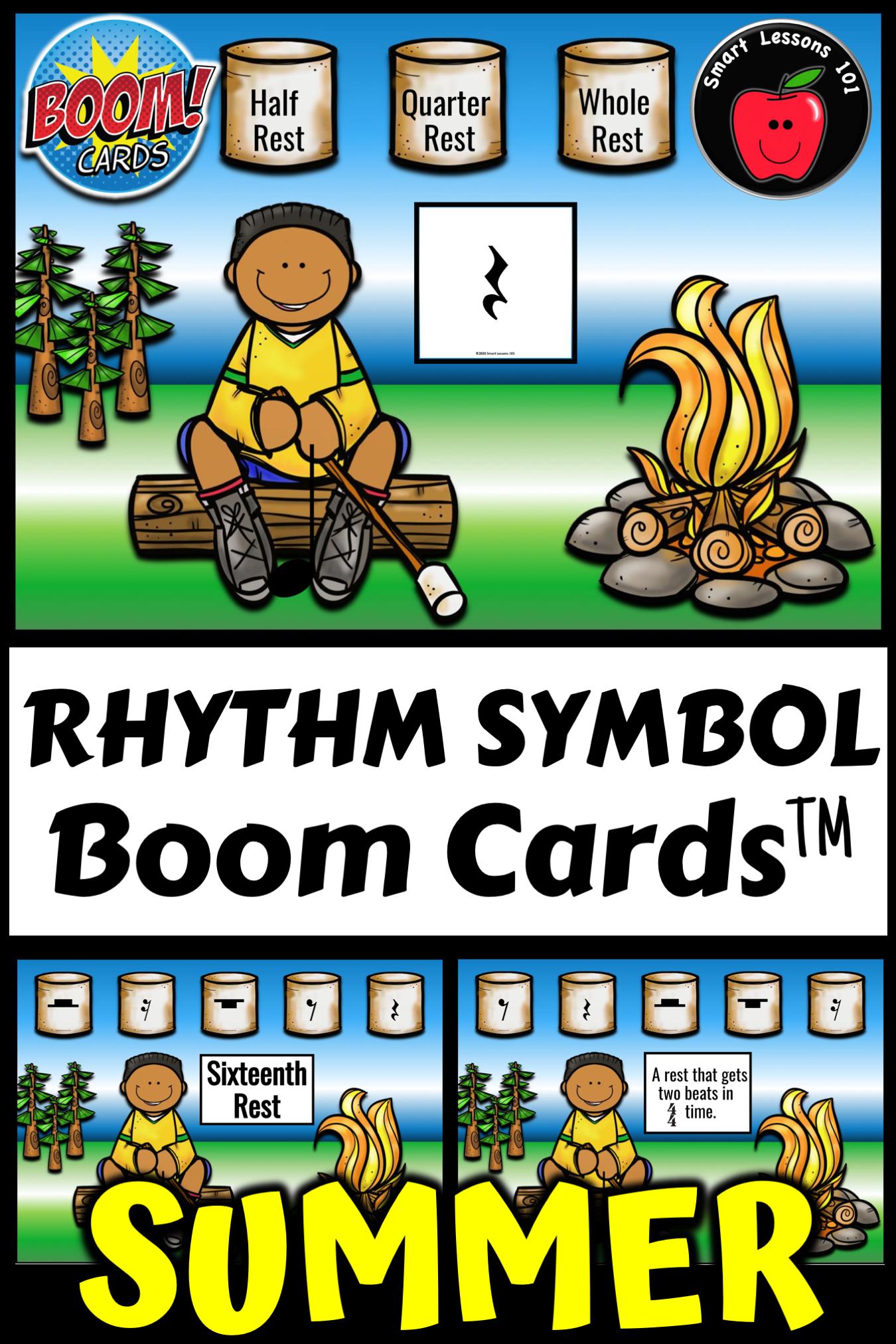 Summer Rhythm Symbol Music Boom Cards Distance Learning