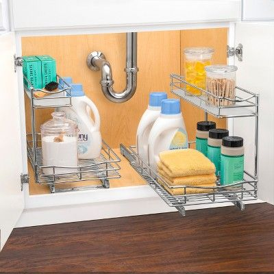 Link Professional 11 5 X 18 Slide Out Under Sink Cabinet Organizer Pull Two Tier Sliding Shelf Grey