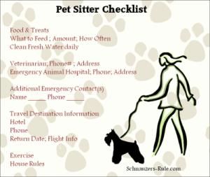 pet sitting instructions