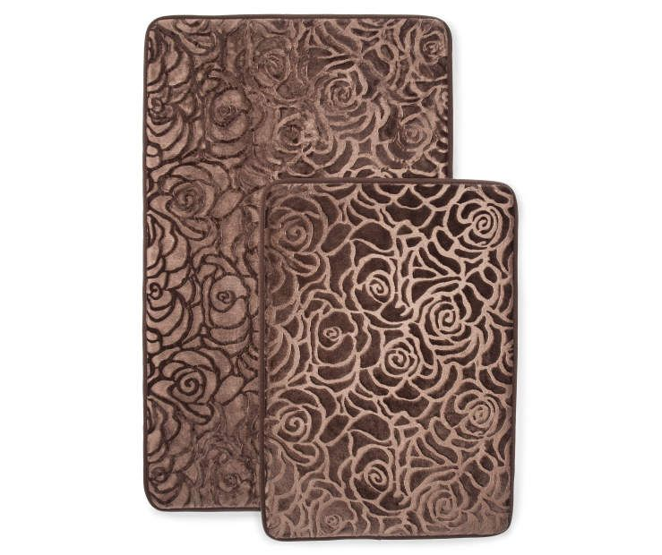 Just Home Brushed Chocolate Memory Foam Bath Rug Set 2 Pack