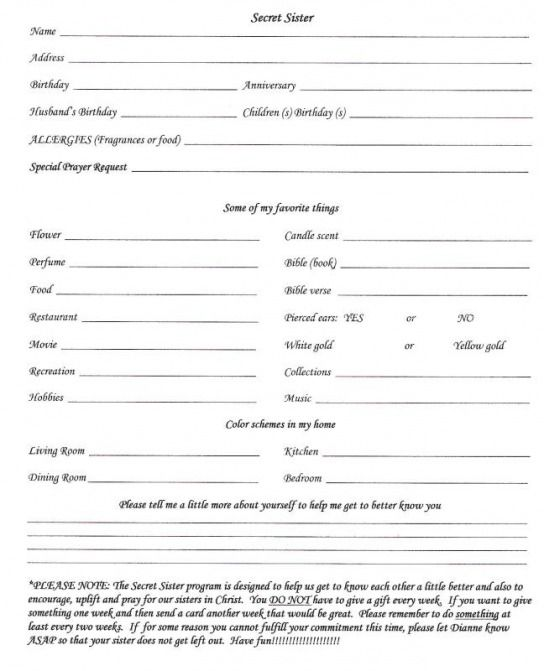 secret sister questionnaire White Hall Church of Christ – Church Survey Template