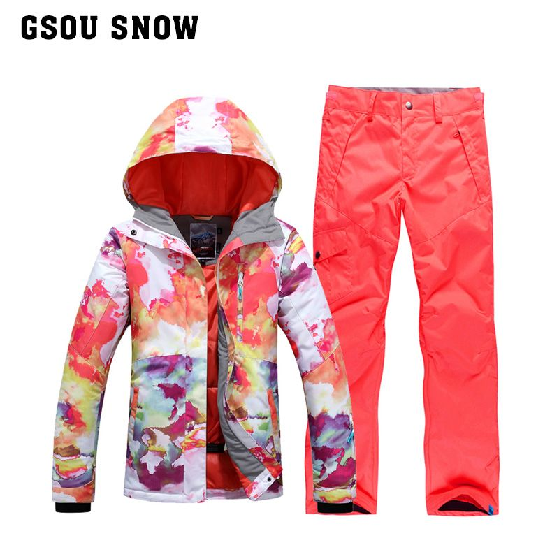 61f493a1b60 GSOU SNOW brand winter womens ski suits female colorful snowboard jackets  pants women veste pantalon ski