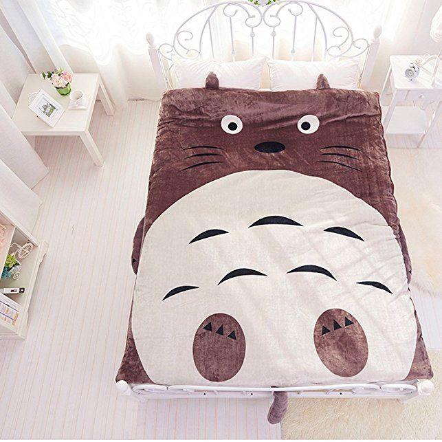 Copripiumino Con Gufi.Memorecool Laptop Flanella Totoro Bed Cover Cute Cartoon Piumino
