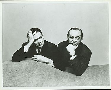Richard Rodgers and Oscar Hammerstein posing for a photo during their time working on ME & JULIET, 1953. Photo by Irving Penn.