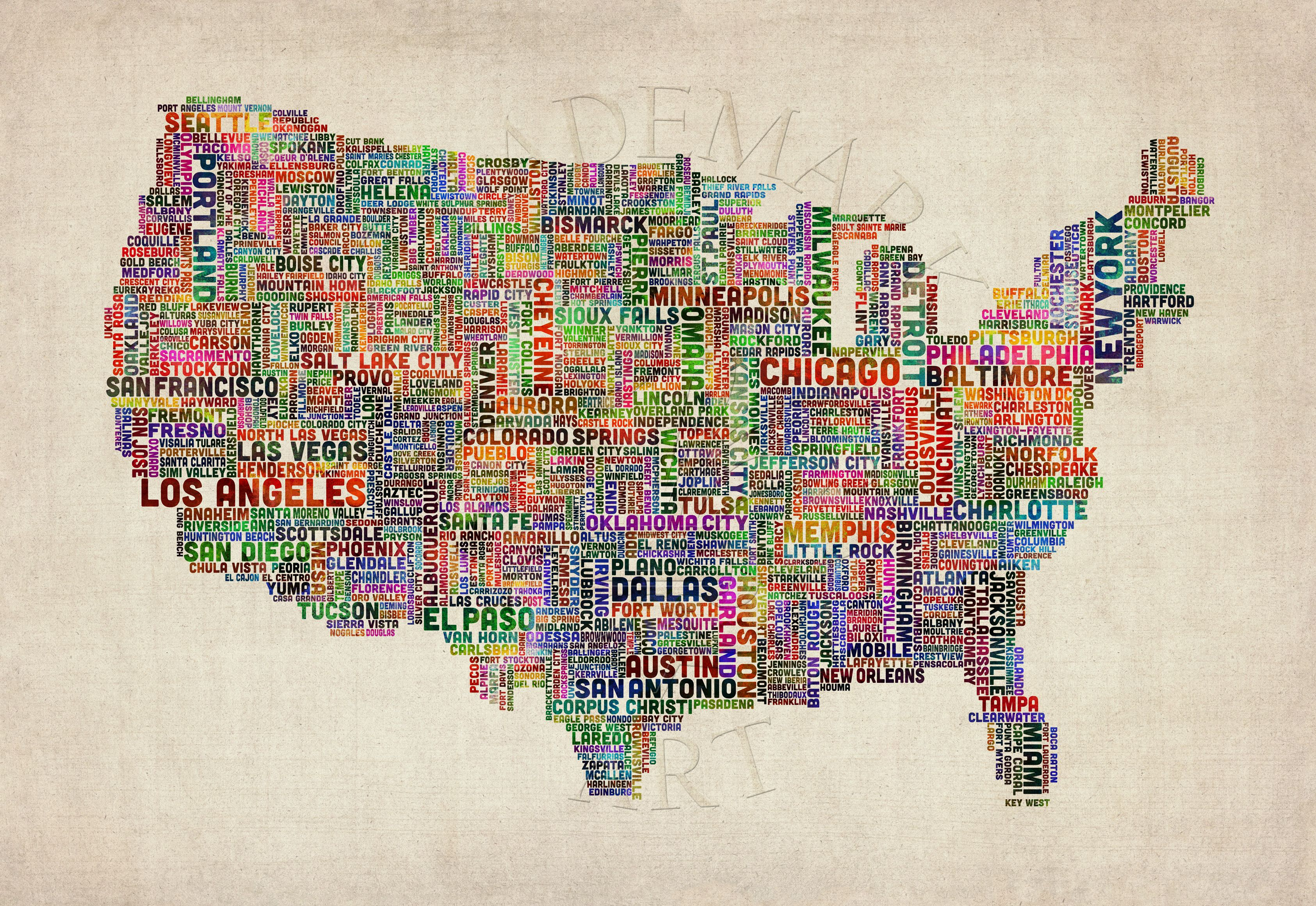 Michael Tompsett Us Cities Text Map Vi Canvas Art Map Canvas Print Abstract Canvas Painting Canvas Art