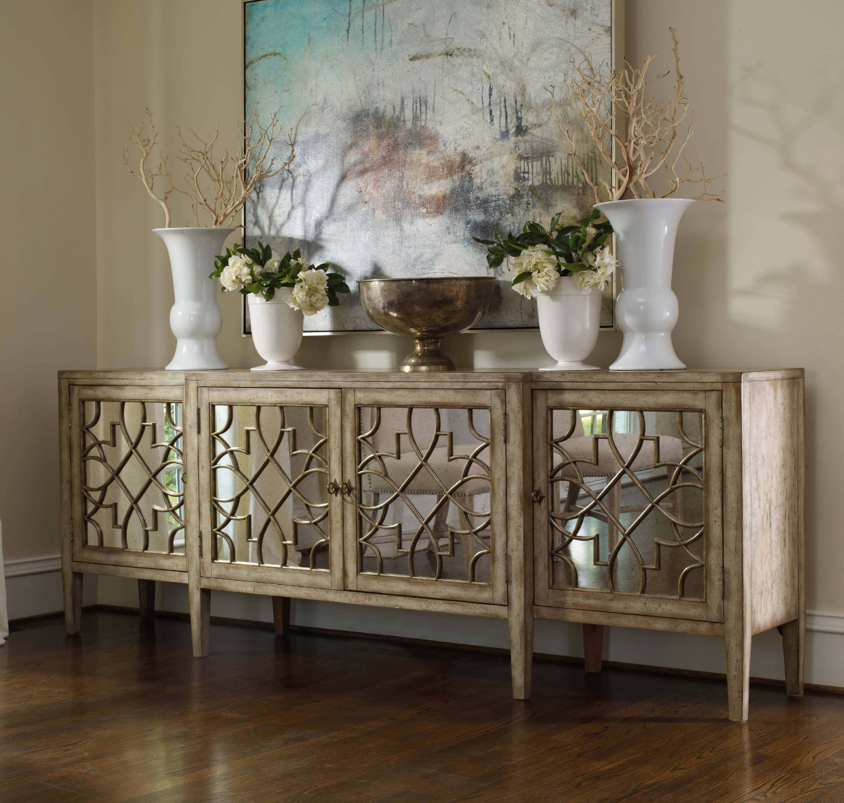 A Solemn Look With Striking Decor Dining Room Buffet Table, Mirrors In Dining  Room,