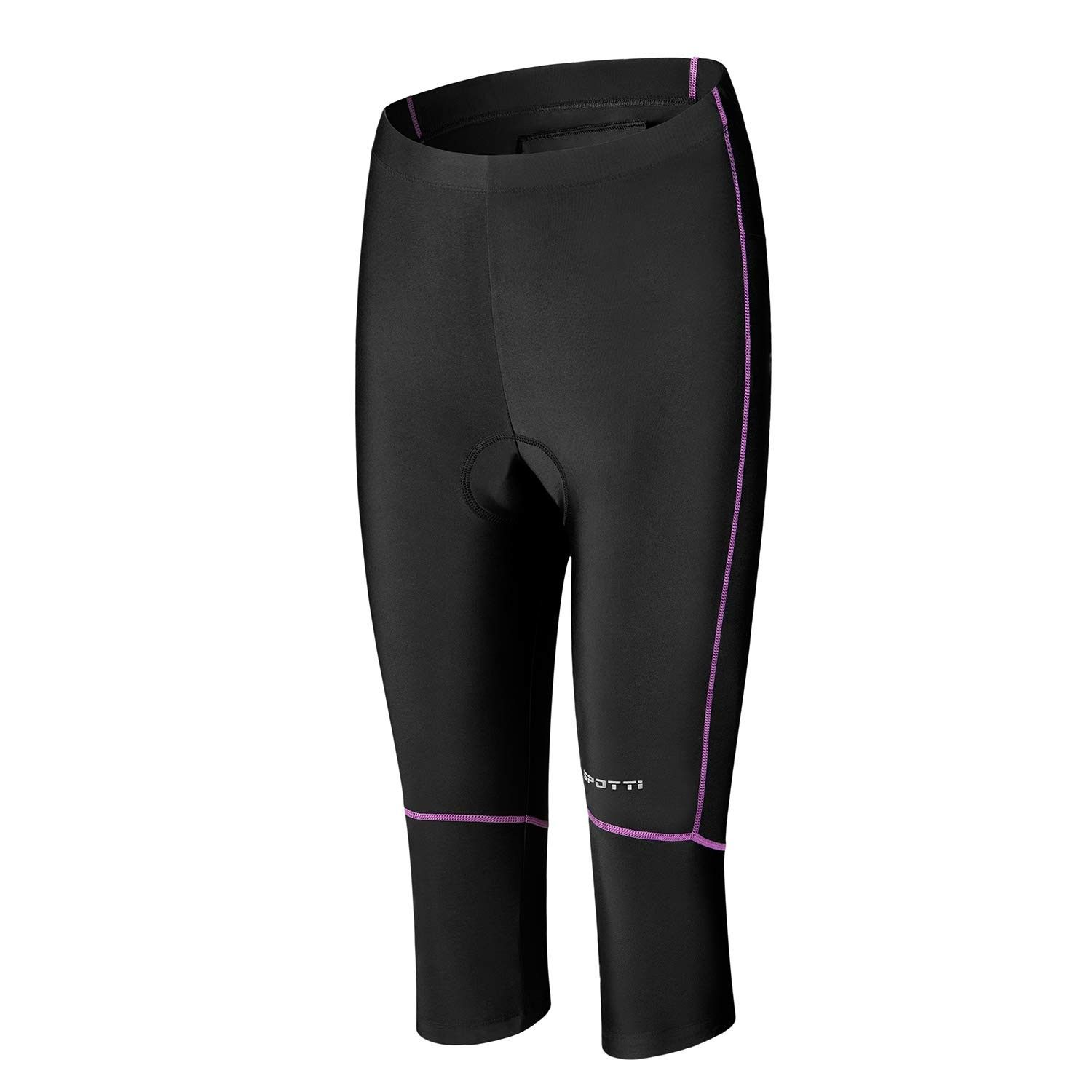 Womens Bike Shorts with Pocket - 3D Padded 3/4 Cycling Biking Pants Tights for Mountain Riding - Pur...
