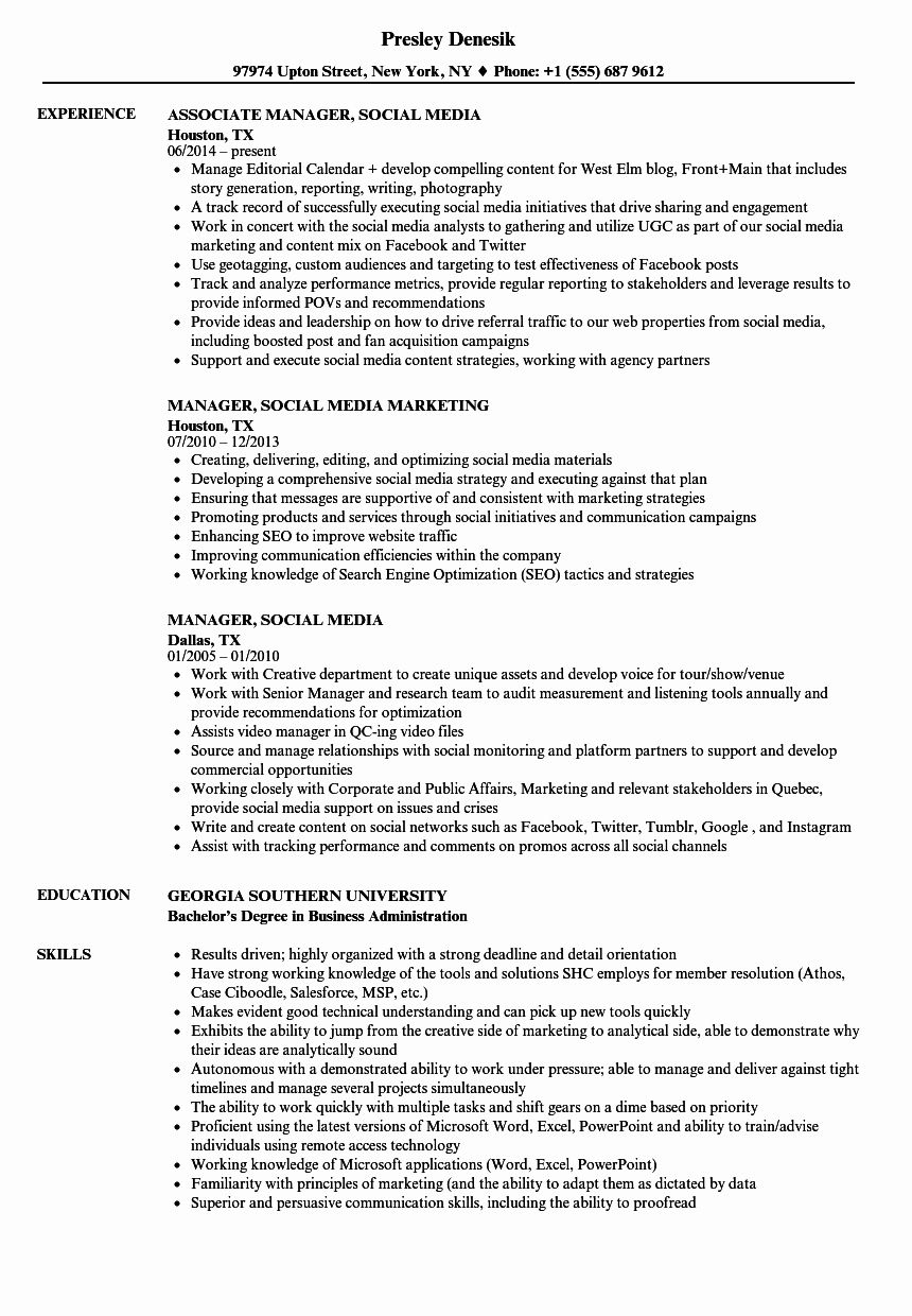 40 social Media Manager Resumes in 2020 Manager resume