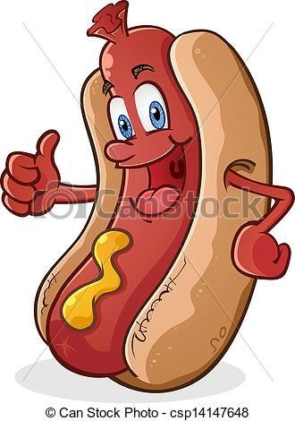 aa5449bf2afb Vector - Hot Dog Thumbs Up Cartoon Character - stock illustration ...
