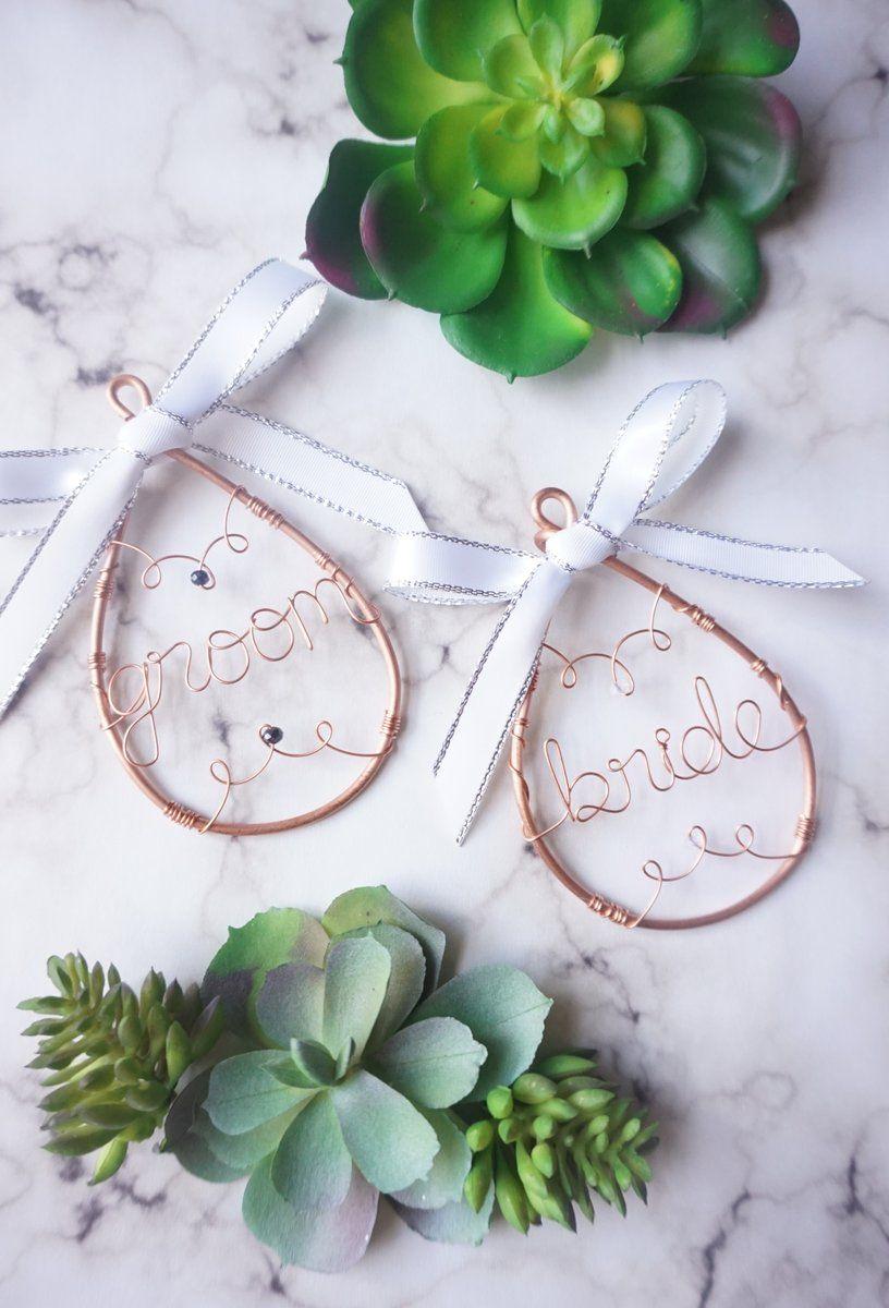 Bride and groom ornament set hazel charm shop handmade