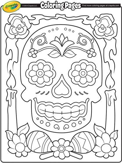 Dia de los Muertos/ Skull Coloring Page/ Template/ Stencil