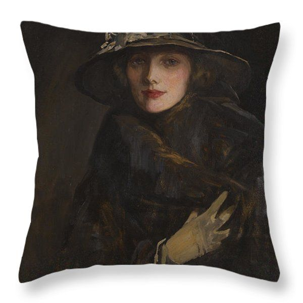 A Lady in Brown Throw Pillow by Sir John Lavery