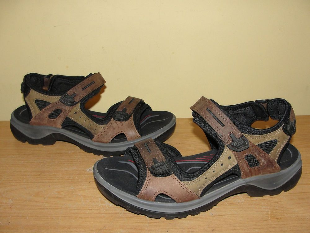 ECCO Womens Shoes Brown RECEPTOR LEATHER Adjustable STRAP Sport Sandals Sz  38 #Ecco #SportSandals