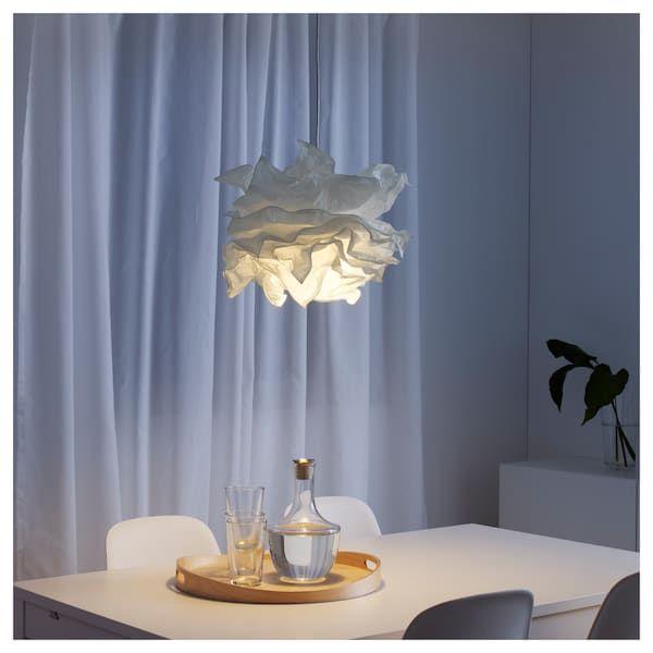 Pendant lamp KRUSNING / SEKOND white, textile white in ...