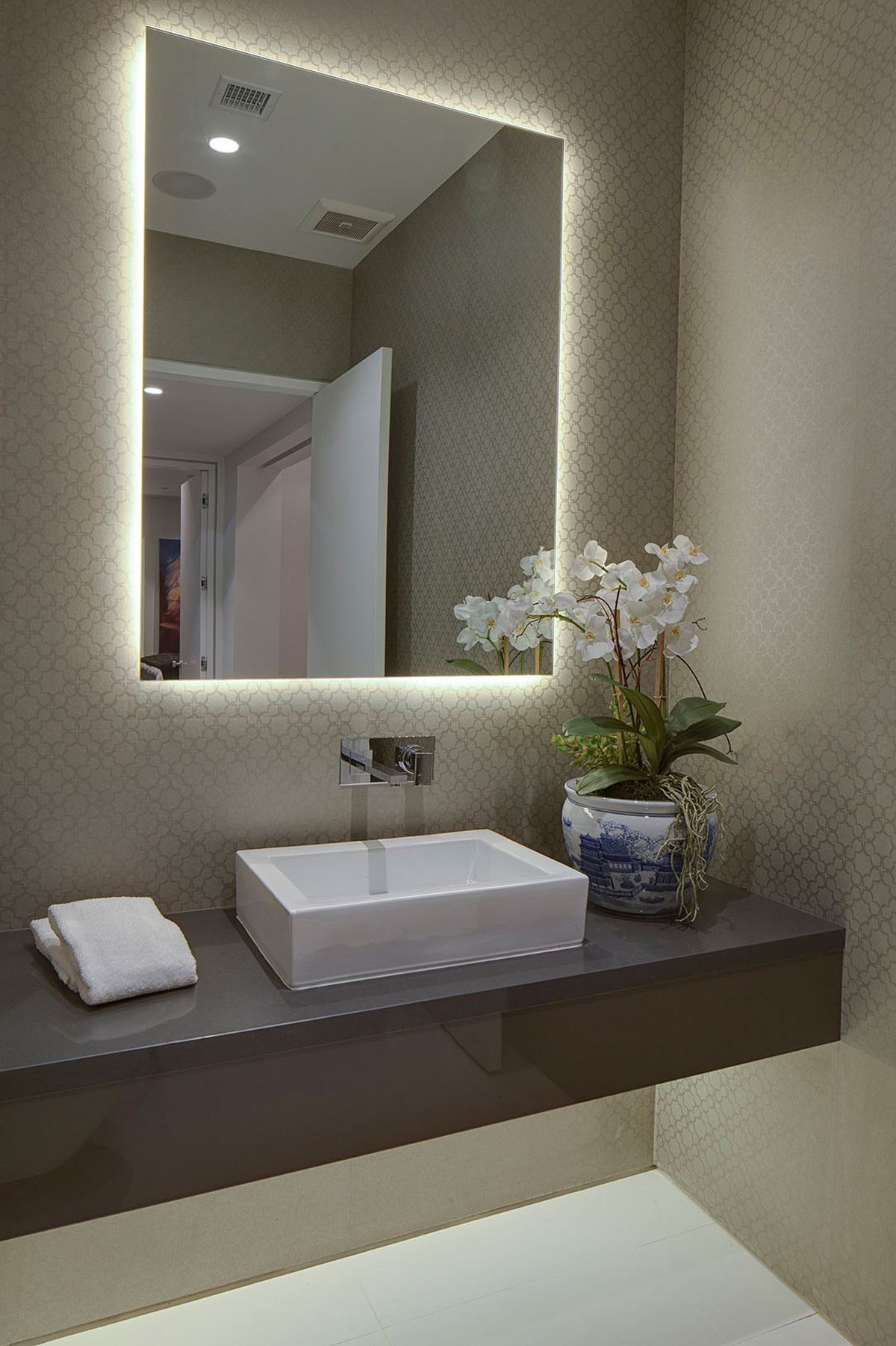 LED backlit mirror with above counter sink and custom ...