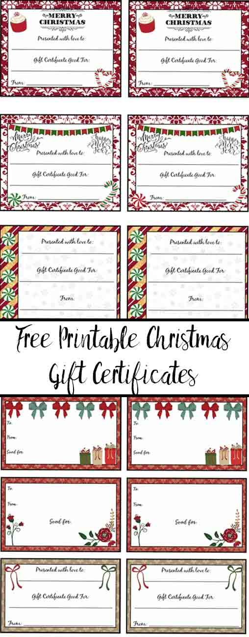 FREE Printable Christmas Gift Certificates 7 Designs, Pick Your - homemade gift certificate templates