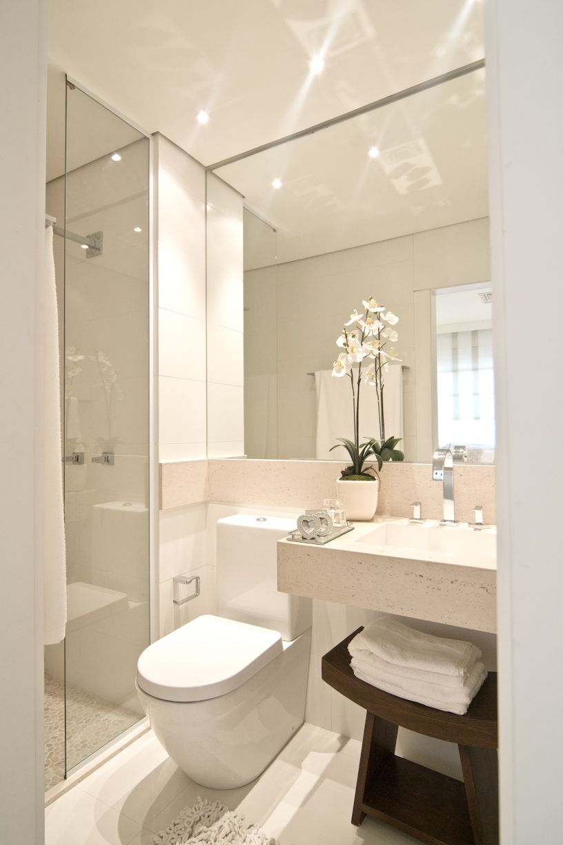 Shower with glass wall, layout and mirror