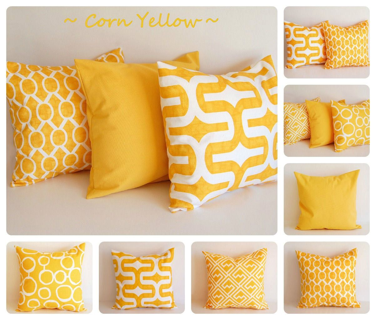 Yellow Pillow Cover 16 X 16 One Cushion Cover Corn Yellow And
