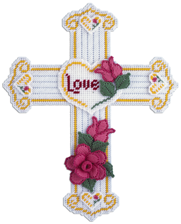 Free Plastic Canvas Crosses   Cross With Roses Plastic Canvas Kit by Needlecraft Super Shop