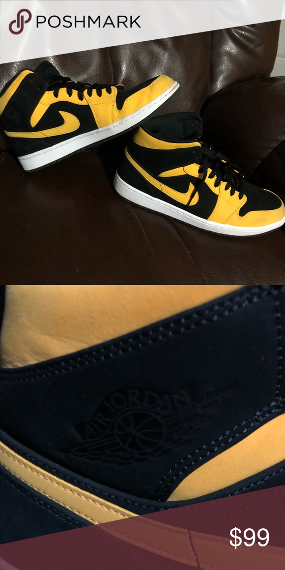 0707d64cc3870e Nike Air Jordan Retro 1 s New Love Black   Yellow 554724-071. SIZE 12  MENS..... Literally wore these 1 time. They re just not for me.