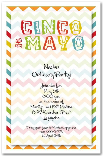 Cinco de Mayo Chevron Fiesta invitations, Mexican fiesta and - lunch invitation templates