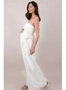 Chiffon Strapless Column Maternity Wedding Dress with High Waisted