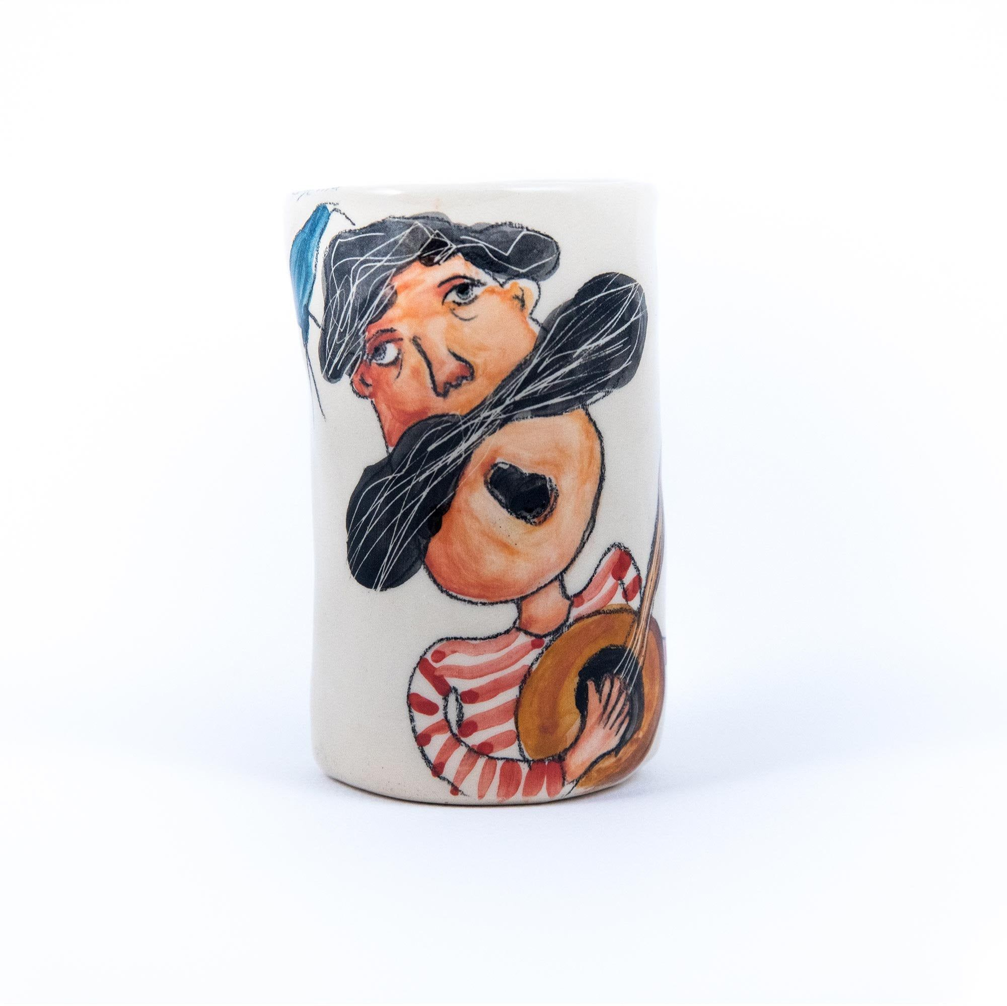 Singing sailor pottery wine glass, customizable gift for him. This handmade glass/unique ceramic art is an ideal gift for him