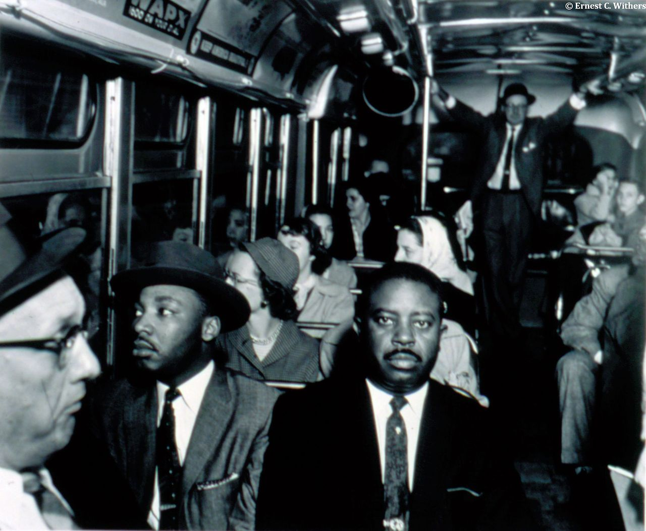 Ernest C. Withers (American, 1922–2007) First Desegregated Bus Ride: Dr. Martin Luther King and Rev. Ralph Abernathy on first desegregated bus, Montgomery, Alabama, December 1956, from the portfolio I am a Man, 1956 Gelatin silver print Oberlin Friends of Art Fund, 2004.6.2