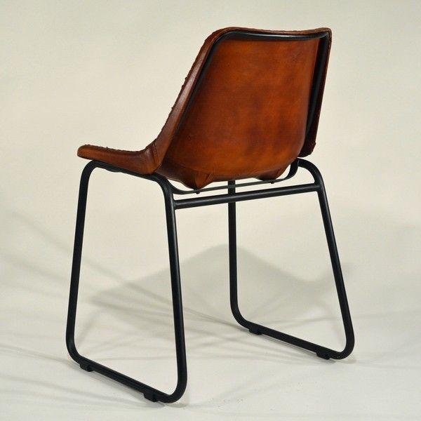Industrial-Vintage Leder-Design-Stuhl u2013 Echter Retro Design - stilvolle esszimmer mobel retro look