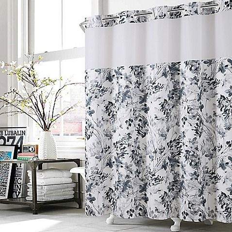 Hookless Watercolor Floral Shower Curtain In Black White With