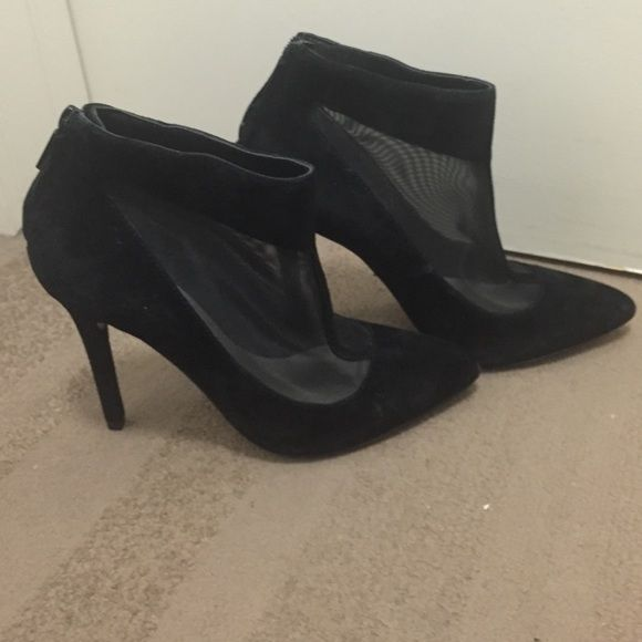 Pour la Victoire bootie size 6  suede & mesh Cute bootie I bought from another posher which told me they were a size 9 not!!!! Lol Pour la Victoire Shoes Ankle Boots & Booties